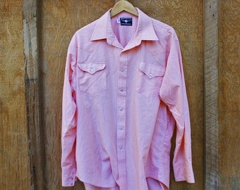 Vintage Men's Pink Western Shirt by Ruddock USA - XL