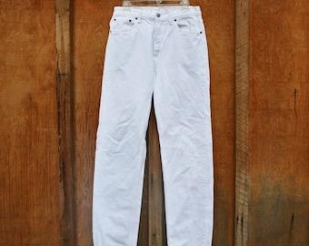 Retro Levi's Button Fly 501 Jeans - White - 32x34