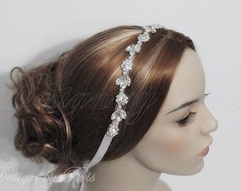 NEW HPH11 - Bridal Rhinestone with Swarovski Pearls Ribbon Headpiece - Bridal.Hairpiece.Wedding Accessories Rhinestone Ribbon Headband