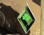 Four Leaf Clover Green Glass Ornament St Patricks Day Suncatcher Handmade in Canada