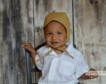 Baby bonnet, spring hat, gold colored linen hat with ties, baby gift, baby girl hat, baby girl bonnet, lightweight hat, baby boy bonnet