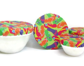 Cotton Fabric Bowl Covers -  Set of 4 Bowl Covers - Lined Fabric Bowl Covers - Pink, Green, Orange, Purple, Sandels Theme