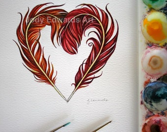 Phoenix Feather Heart - Original Watercolor