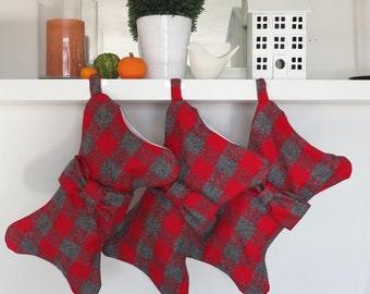 Dog Christmas Stocking pet stocking red and gray plaid bone shaped