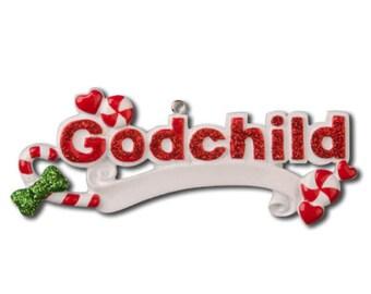 Personalized Christmas Godchild Ornament-, Newborn, Baby Shower , Christening Gift