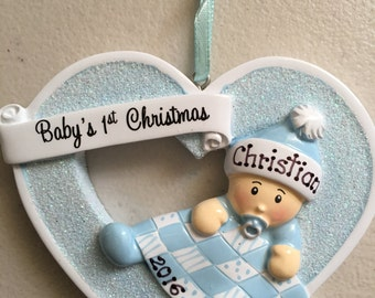 Personalized Star Baby Boy's First Christmas Ornament - Newborn, Baby Shower Birth Announcement ,Gift, Gift Tag