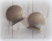 Vintage Brass Shell Bookends Clam Shell Book Ends  Beach Cottage Decor Nautical Decor Mid Century Brass