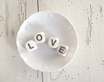 Letter Cubes LOVE Wedding Decor Cake Topper Vintage Wood Cubes Craft Supply