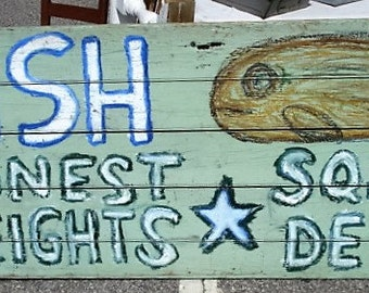 Very Large Folk Art Fish Sign by Rongo Local Pickup Only