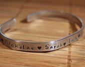 Personalized Cuff Bracelet, Mom bracelet with kids names