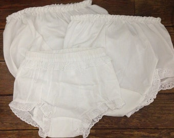 Embroidery blanks / 3 baby bloomers / diaper covers