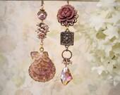 Blithe & Bonny Asymmetrical Seashell Earrings Mermaid Beach Bride Garden Wedding Mauve Pink Rose Flower Earrings Sea Shell Festival Jewelry