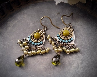 Limelight - Chartreuse Turquoise Micro Mosaic Earrings Olive Green Cubic Zirconia Mint Green Freshwater Pearls Micromosaic Lime Acid Green