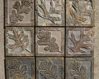 Oak Leaf Tiles - English Oak & Black Oak Etched Decorative Slate Tiles - Handmade