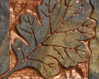 "4""x4"" Earth Slate Tile - English Oak Leaf with Copper Inlay - Etched Slate Tile - SRA"
