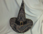 Black, Gray and Tan Brocade Witch Hat- Fancy Witch Hat with Buckle- Salem Witch- Elegant Witch- Fancy Witch