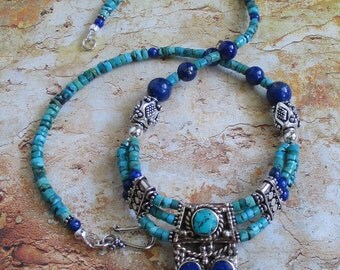 Hidden Treasures -- Nepalese Pendant Lapis Turquoise Sterling Necklace