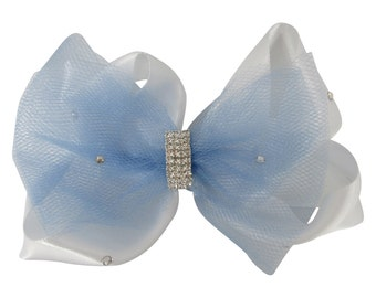 Flower Girl Hair Bow Clip for Wedding - Ivory or White with Swarovski crystal accent/choose tulle satin ribbon emerald cut rhinestone bling