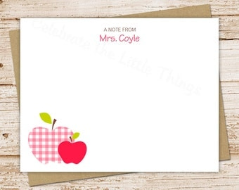 personalized apple note cards . PRINTABLE . gingham apples notecards . teacher personalized stationery . FLAT stationary . You Print