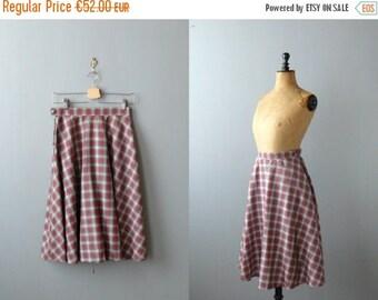 40% OFF SALE // Vintage tartan skirt. 70s deadstock tartan full skirt. red gray skirt