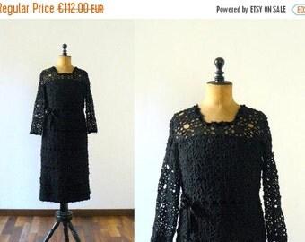 40% OFF SALE // Vintage crochet dress. wool crochet dress. 1950s black dress