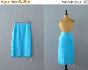 40% OFF SALE // Vintage linen skirt. 1970s skirt. high waisted skirt. deadestock skirt