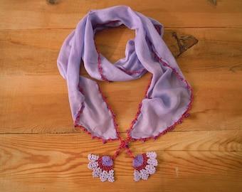 lilac cotton scarf, hairband, crochet