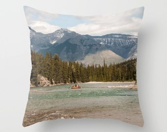 Banff Photography, Bow River Cushion Case, Rustic Mountain Lodge Decor, Accent Pillow Covers For A Cabin, Lake House Art, Alberta