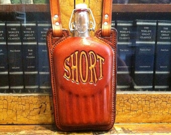 Leather covered glass flask