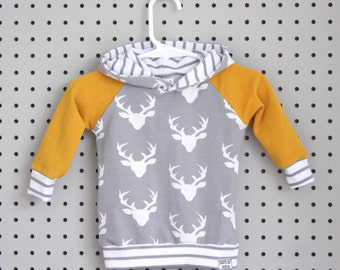 Baby Hoodie - Baby Sweatshirt - Baby Boy Clothes - Baby Shirt - Grey Buck