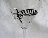 Martini glass, hand painted martini glass, musical notes, hand painted glasses