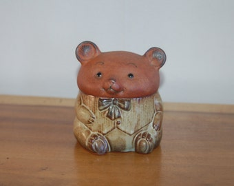 Anthropomorphic Bow Tie Wearing Baby Bear ~ UCTCI Japan Stoneware Trinket Box ~ Curio Box ~ Ornament ~ Novelty ~ Collectible ~ Wee Bear