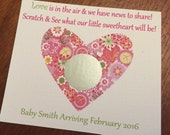 Valentine Heart Gender Reveal, Set of 12 Scratch off Cards for a Baby Shower or Gender Reveal Party, Valentine Gender Reveal
