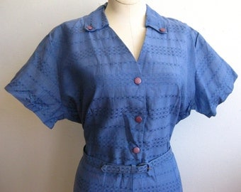 Vintage 40s 50s Blue Cotton Afternoon Picnic Day Dress XL