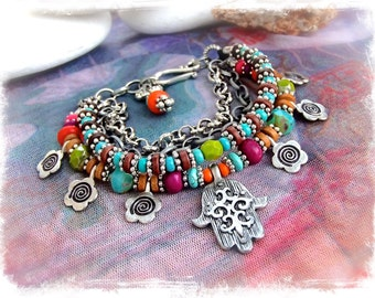 Silver HAMSA BRACELET Hamsa Hand Fatima Bracelet Protection bracelet RAINBOW Hippie Gypsy Ibiza summer Layered Chain bracelet GPyoga