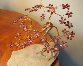 Gemstones tree made with garnet and peridot