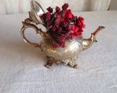Vintage Teapot Silver Plate Edwardian Home Decor Mad Tea Party Kitchen