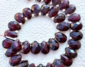 5 Matched Pairs Natural RED GARNET,Best Quality, 7X10m Faceted Pear Shaped Briolettes Set,Great Item,