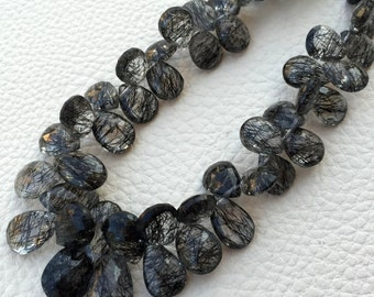 Brand New, AAA BLACK RUTILATED Faceted Pear Shape Briolettes,10-12mm Size,Great Price Rare Item