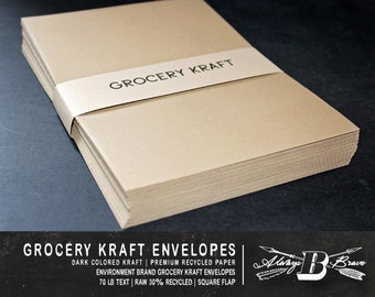 25 Grocery Kraft A7 Envelopes | Kraft Envelope | 5 1/4 x 7 1/4 fits 5 x 7 Invitation | Environment Grocer Kraft Envelope