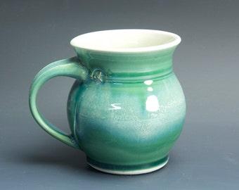 Pottery coffee mug, ceramic mug, porcelain tea cup jade green 14 oz 3455