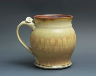Reserved for Anne - Handcrafted pottery beer mug, ceramic mug, stoneware stein amber rust  24 oz 3498