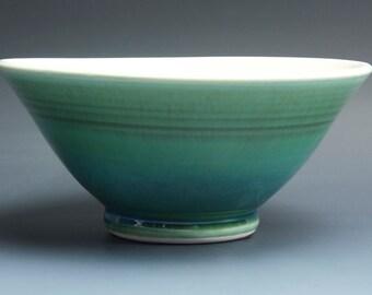 Handmade pottery bowl jade green porcelain serving or ceramic salad bowl 1 qt, - 3575