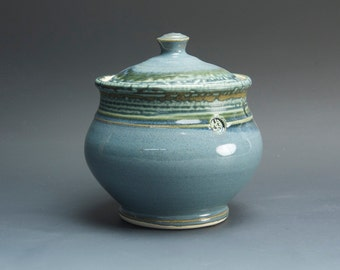 Handmade stoneware sugar bowl storage jar tea caddy blue/green 3058