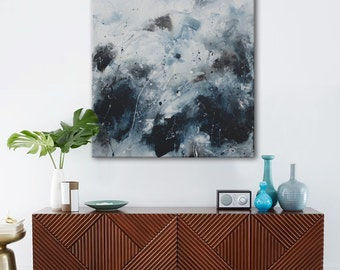 Original abstract painting blue black seascape painting square large art 'fast waters' Elena Petrova