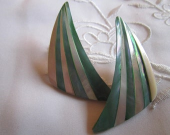 Vintage Silver Tone Large Aqua and White Shell Striped Pierced Earrings