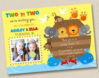 Noah's Ark Two by Two Animals Custom Birthday Party Photo Invitation Design- any age