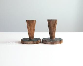Tinos Danish Art Deco Bronze Metal Candlesticks