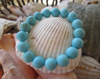 129 turquoise dyed howlite 10mm handmade beaded beach bracelet