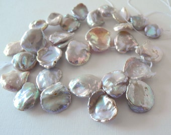 Keishi Pearl Natural Mauve Silver Top Drilled Large Keshi  Cornflake Pearl 13mm 17mm Half Strand